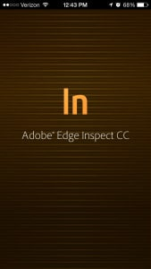 Adobe Edge Inspect CC Splash Screen