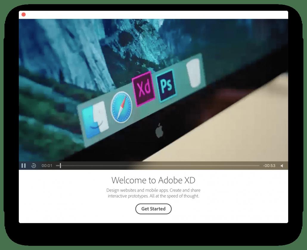 Adobe Experience Design 2017 Start Screen