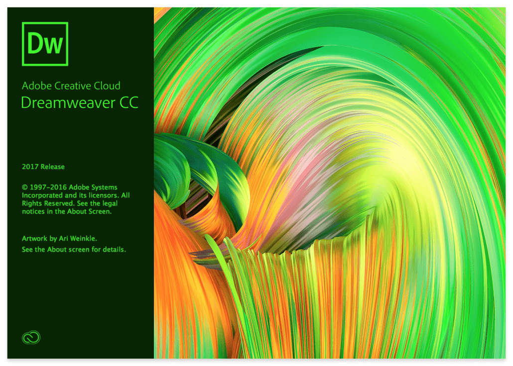 Adobe Dreamweaver 2017 Splash Screen